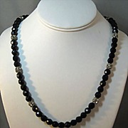 "SOLD Black French Jet Necklace with Clear Rhinestone ""Beads"""