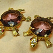 Pair of Turtle Pins with Amethyst Colored Stone Bodies