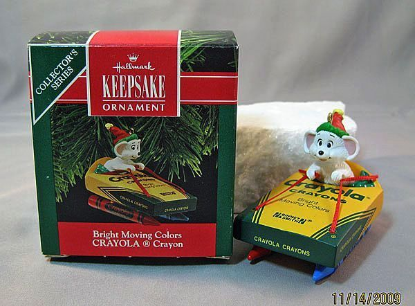 Bright Moving Colors Crayola Crayon Hallmark Ornament with Mouse 1990 #2 in Series