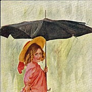 Vintage Postcard of Sweet Girl Out in the Rain with a Dilapidated Umbrella