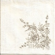 Lovely White Linen Hankie Handkerchief with Elaborate Embroidery