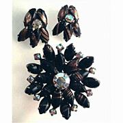Stunning Juliana Black & Gold Rhinestone Aventurine Demi Parure