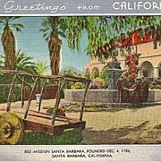 California Postcard Mission Santa Barbara Greetings from California