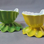 Pair of Victoria Czechoslovakia Footed Nut Cups or Open Salts