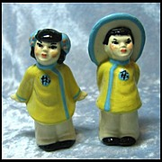 SOLD Ceramic Arts Studio Asian Children Salt and Pepper Shakers
