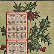 New Year Postcard 1910 Calendar