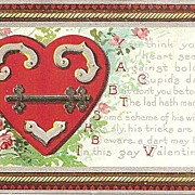 SALE Valentine Postcard with Hardware and Lock