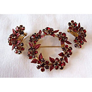 Red Rhinestone and Enamel Demi Parure Pin and Earrings