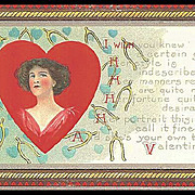 SALE Valentine Post Card with Lovely Lady
