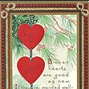 Valentine Postcard with Broken Hearts