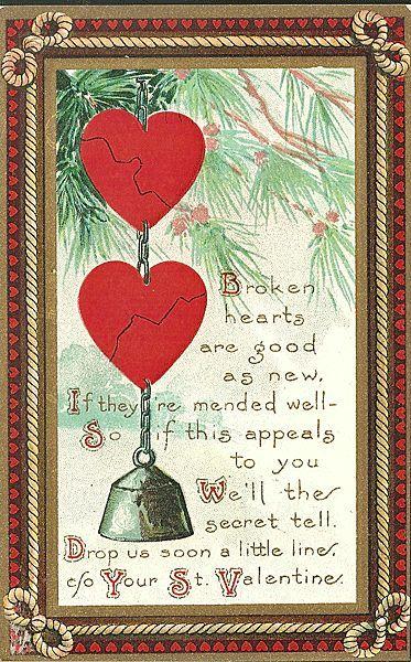 Valentine Postcard with Broken Hearts