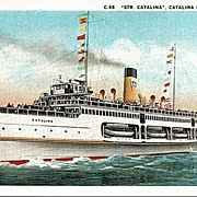 Postcard of the Steamship Catalina off Catalina Island California