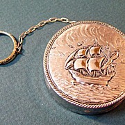 Silver Plated Ring Compact with Sailing Ship Decoration
