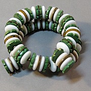 Wonderful Vintage Memory Wire Bracelet with Milk Glass: Green Wooden Beads: And Brass Disks