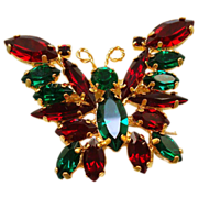 Red and Green Rhinestone Butterfly Brooch