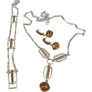 Givenchy Topaz Rhinestone Necklace Bracelet Earrings Set