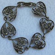 Vintage Sterling Silver Marcasite Heart Bracelet w/ Lovebirds
