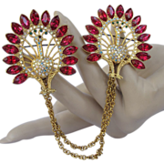 Peacock Chatelaine Brooch with Rhinestones