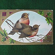 Vintage Christmas Postcard w/ Robins