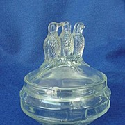 "Depression Era ""Three Birds"" Powder Jar"
