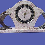 French Art Deco Metal & Marble Mantle Clock w/ Cockatoos