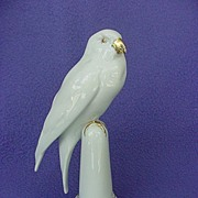 Early 1900's Hutschenreuther White Parrot on Pedestal