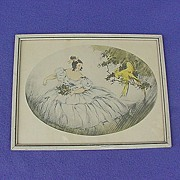 Vintage Woman & Cockatoo Framed Lithograph