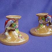 Japanese Lustre Candleholders w/ Parrot Protectors