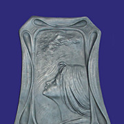 Art Nouveau Pewter Calling Card Tray w/ Woman and Birds