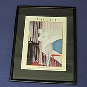 Vintage  Framed Vogue Cover Print: Woman and Bird