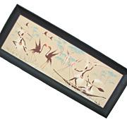 Mid Century Deco Native Crane Framed Bunnell Print
