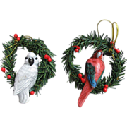 SOLD Cockatoo and Macaw Parrot Hand Painted Wood Christmas Ornaments