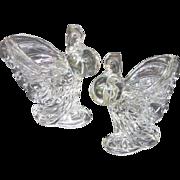 Heisey Rooster Vase Pair