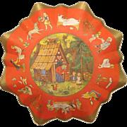 Pre WWII German Christmas Candy Fairy Tale Cardboard Bowl