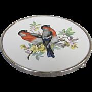 Wallace Sterling Porcelain European Bullfinch Hotplate Trivet