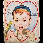 Boy and Budgie Vintage Folding Valentine Large