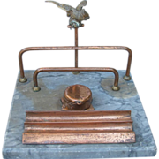 Marble and Metal Cockatoo Desk Caddy from France