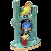 Old Japan Double Bird of Paradise Lustre Bud Vase