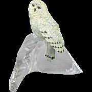Franklin Mint Snowy Owl on Glass Base