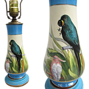 Noritake Cockatoo Hyacinth Macaw Lamp Rare