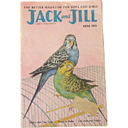 Parakeet Budgie Cover June 1955 Jack and Jill Magazine
