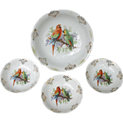 Pre WWII Berry Bowl Set with Amazon and Macaw