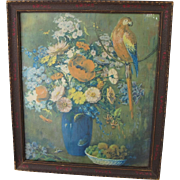 Art Deco Print with Macaw Flowers Vase Still Life