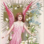 """To Wish You Easter Joys"" - Angel - Cross - Religious - Postcard"