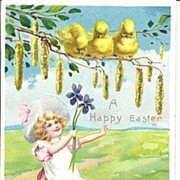 """""""A Happy Easter"""" - Children - Baby Chicks & Colored Eggs"""