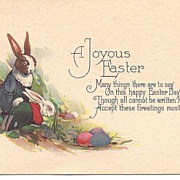 """""""A Joyous Easter"""" - Rabbits in Human Clothing & Colored Eggs"""
