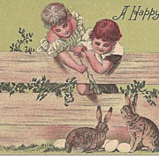"""""""A Happy Easter"""" - Children & Rabbits"""