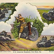 """U.S. Armored Regiment, Fort Knox, KY"" - Motorcycle- Postcard"