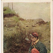 """Camp Fire Reveries"" - Military Postcard"