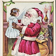 """A Merry Christmas"" - Santa Claus - Child - Postcard"